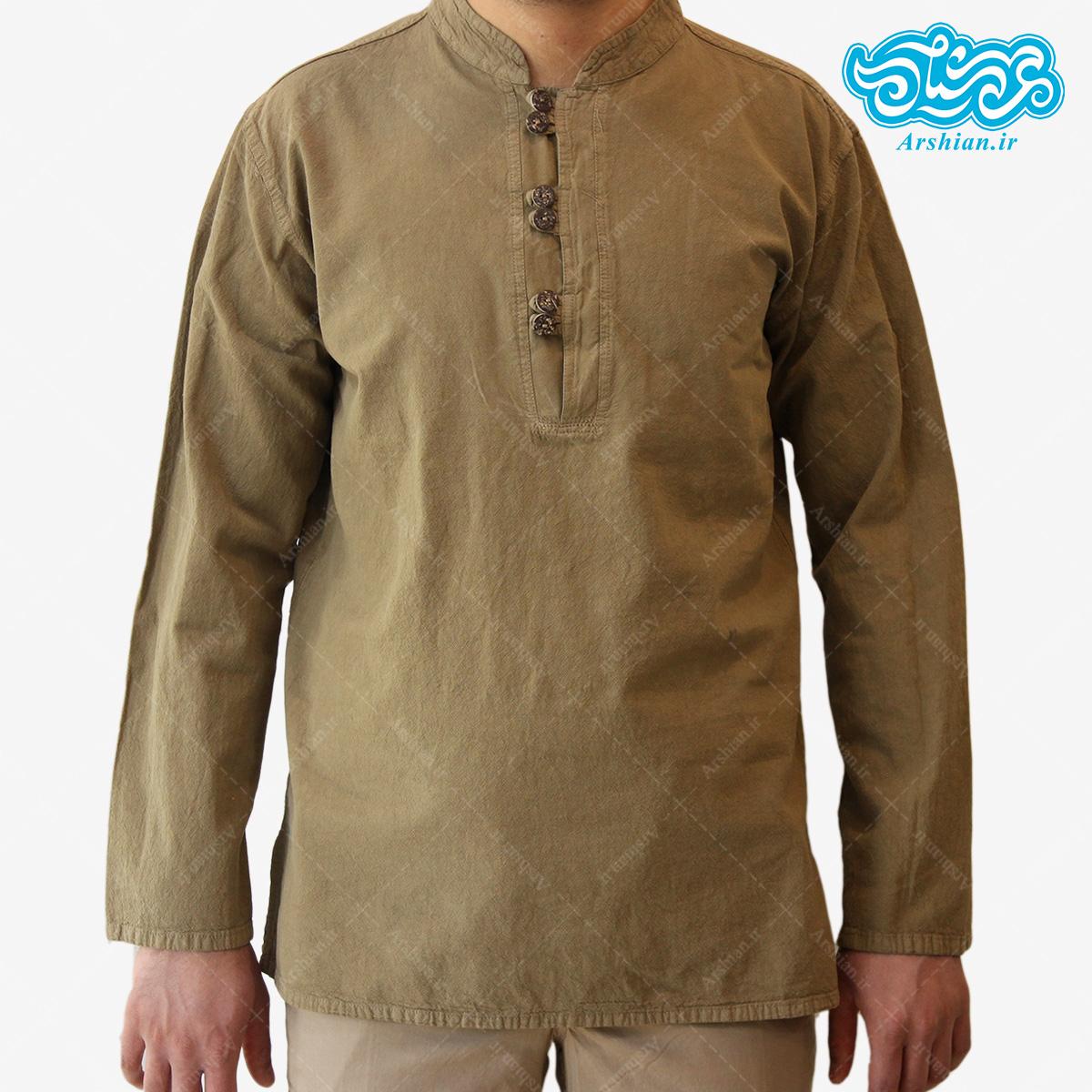 پیراهن الیاف طبیعی طرح شش دکمه مدل sa002
