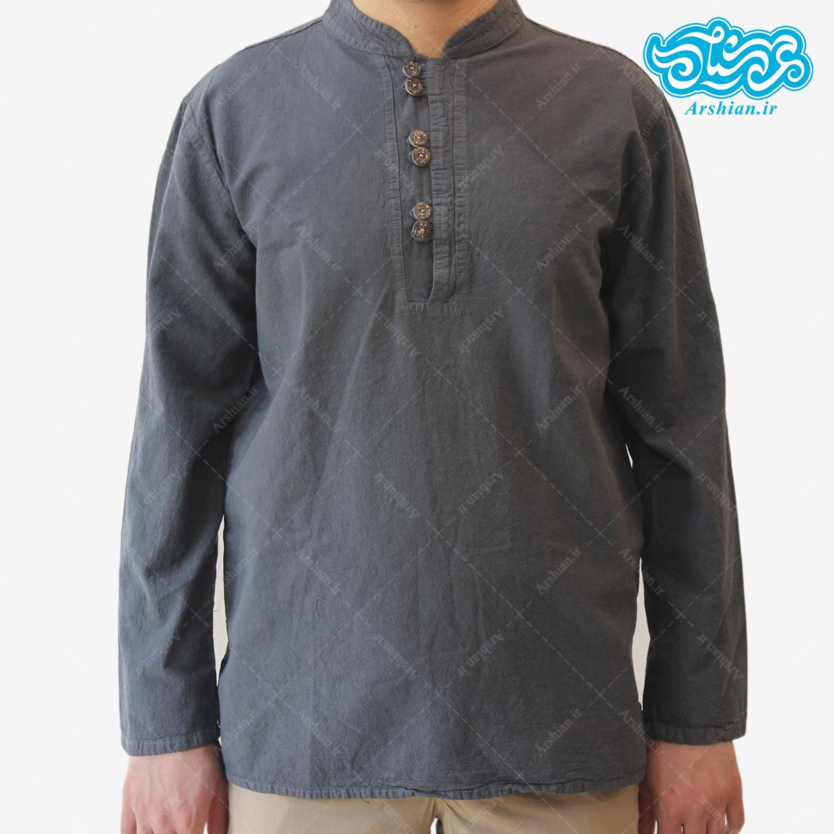 پیراهن الیاف طبیعی طرح شش دکمه مدل t001