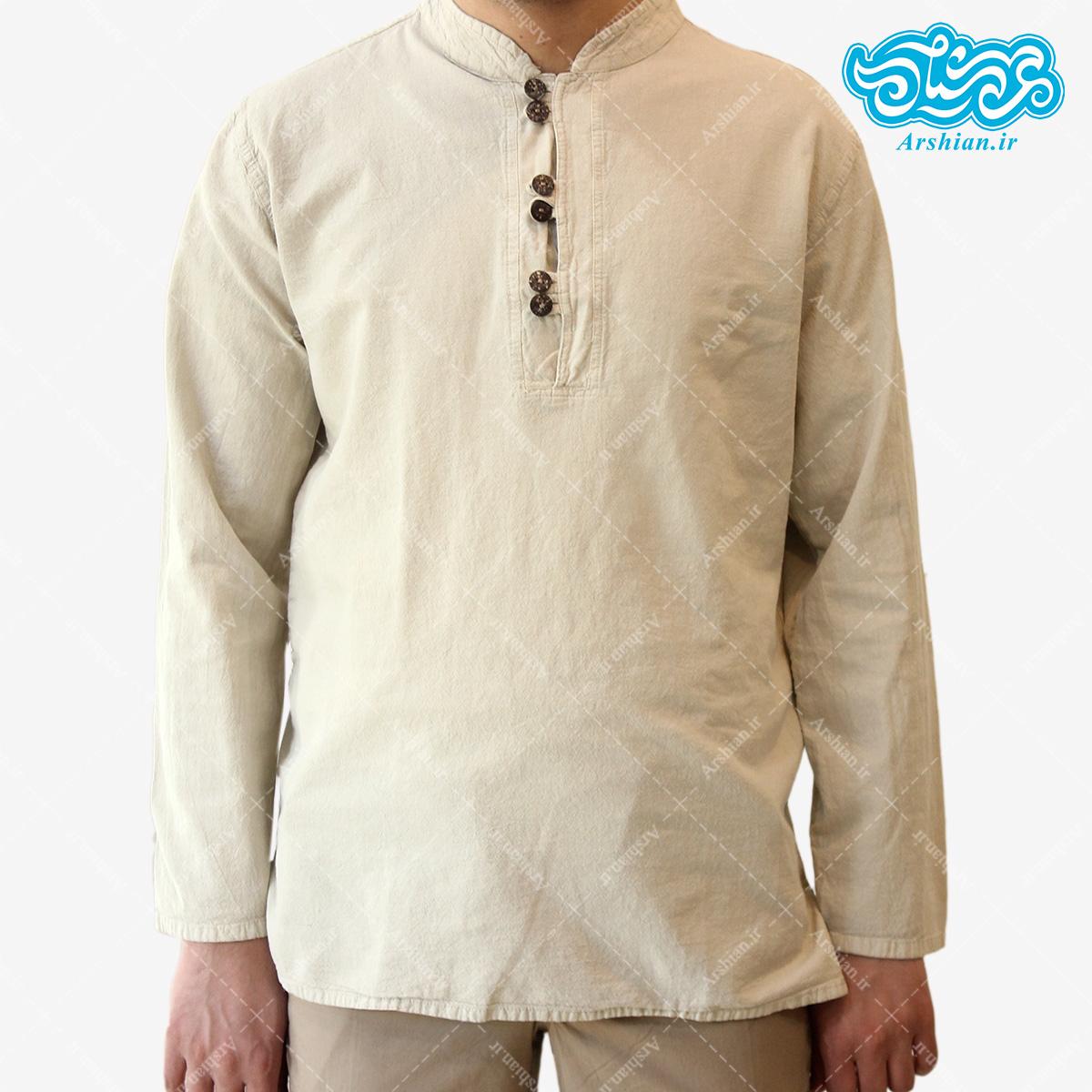 پیراهن الیاف طبیعی طرح شش دکمه مدل se002