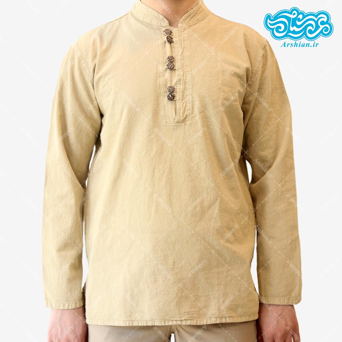 پیراهن الیاف طبیعی طرح شش دکمه مدل k001