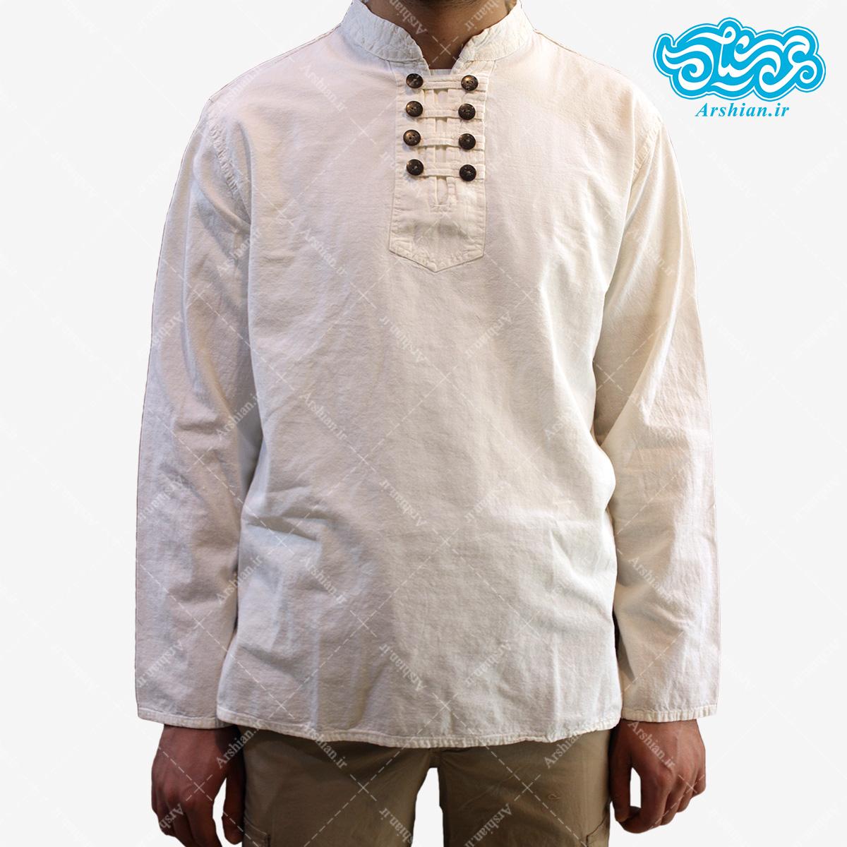 پیراهن الیاف طبیعی طرح هشت دکمه مدل se001