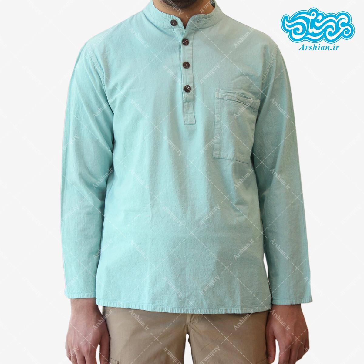 پیراهن الیاف طبیعی طرح چهار دکمه مدل a001
