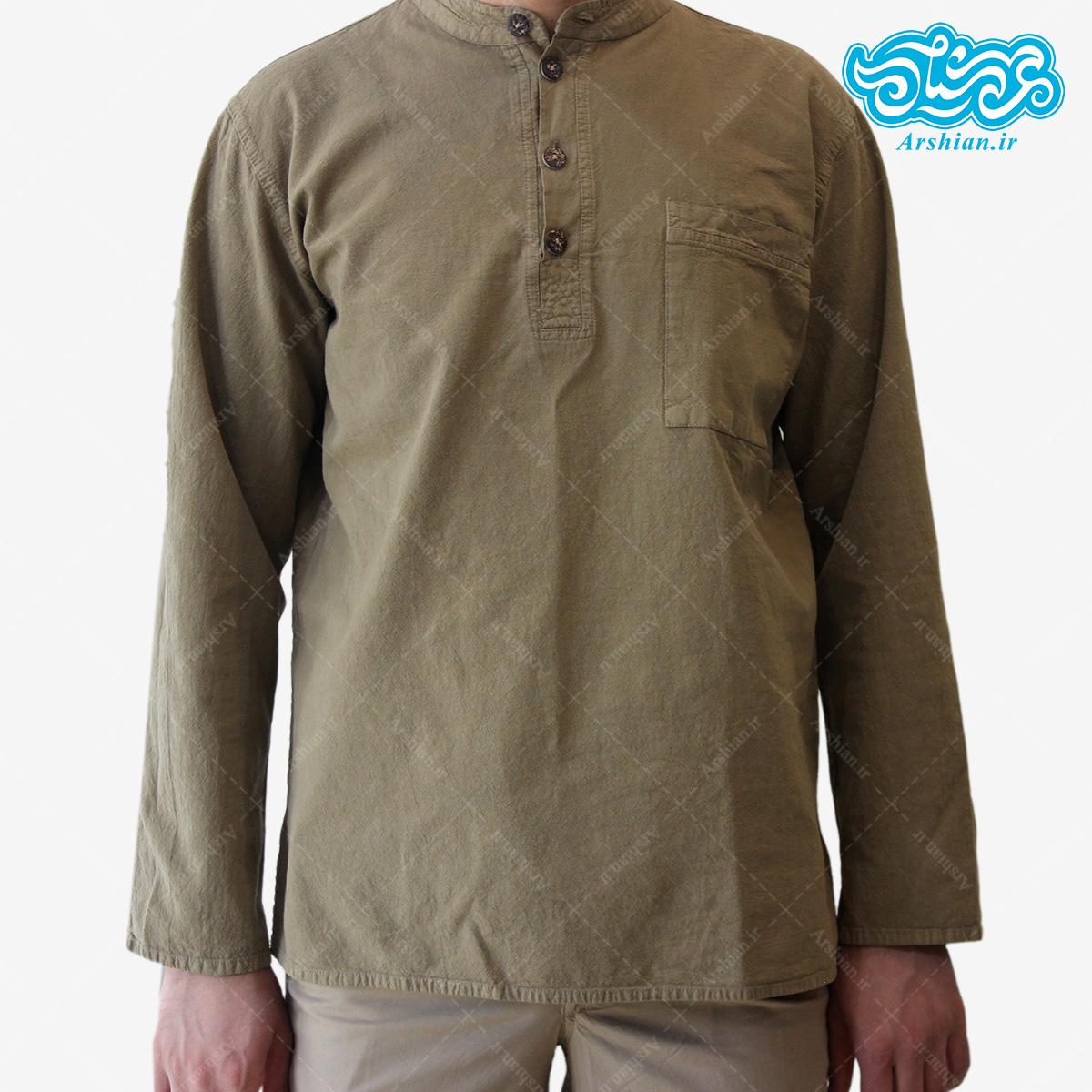 پیراهن الیاف طبیعی طرح چهار دکمه مدل sa001