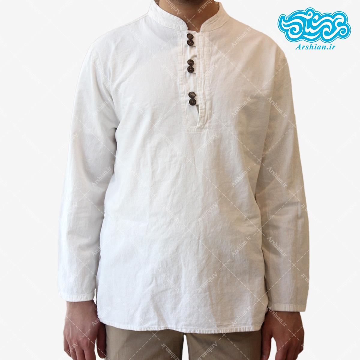 پیراهن الیاف طبیعی طرح شش دکمه مدل se001