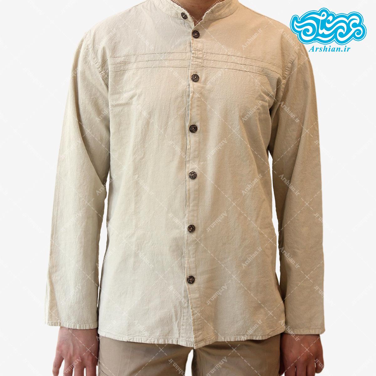 پیراهن الیاف طبیعی طرح تمام دکمه مدل se002