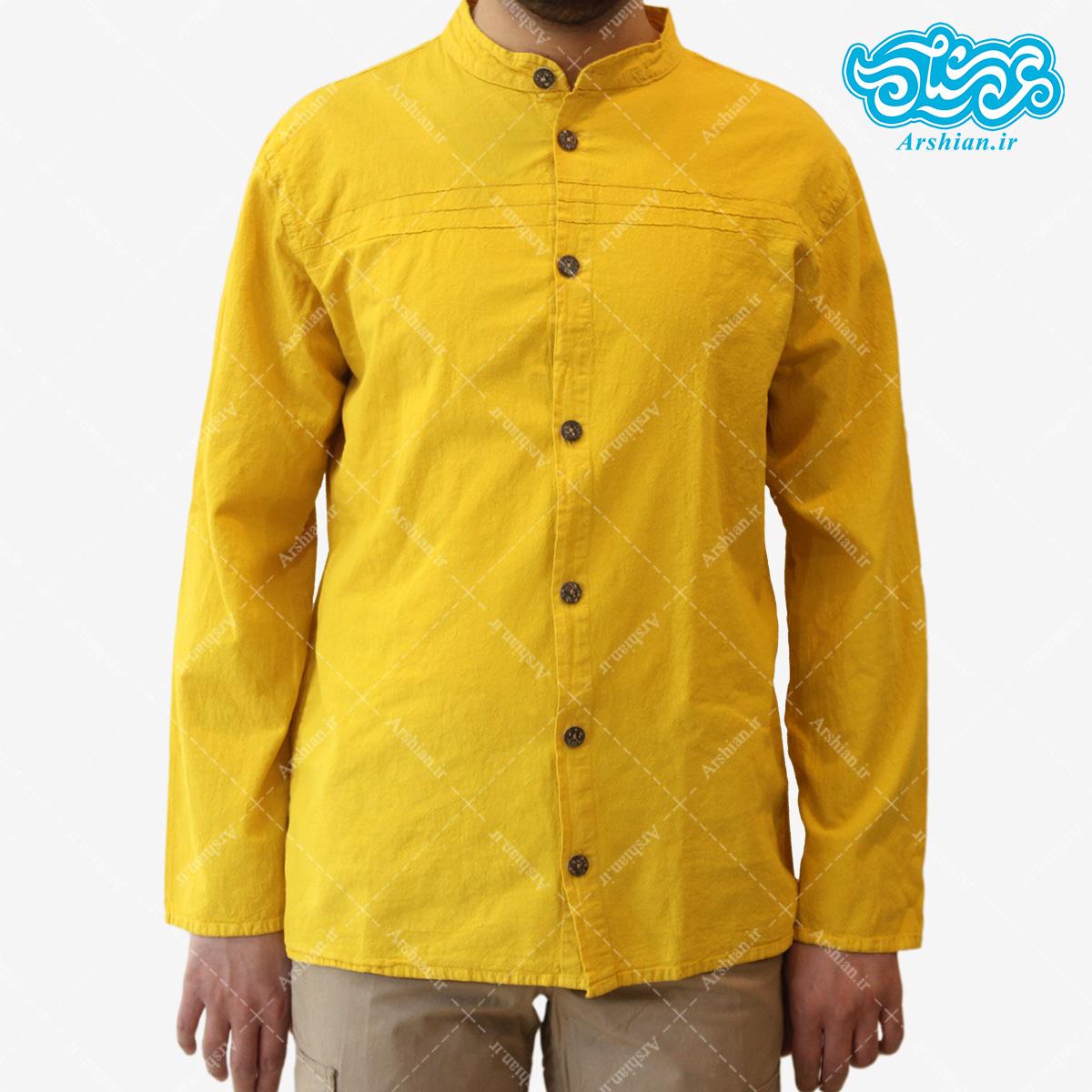 پیراهن الیاف طبیعی طرح تمام دکمه مدل z001