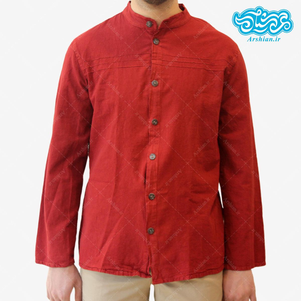 پیراهن الیاف طبیعی طرح تمام دکمه مدل gh001