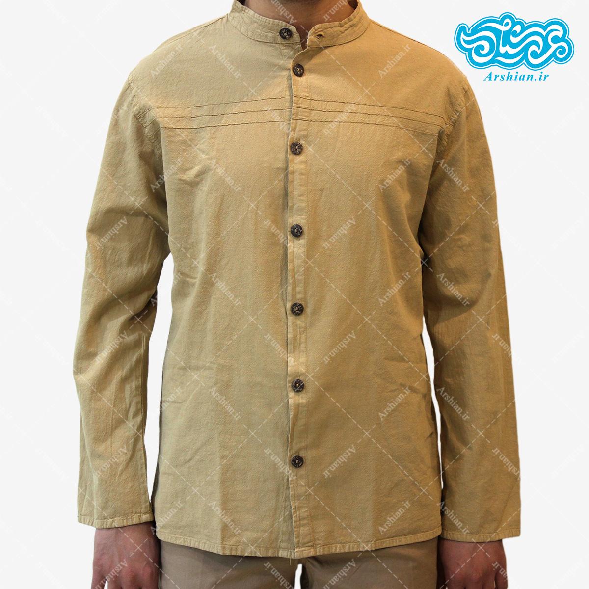 پیراهن الیاف طبیعی طرح تمام دکمه مدل k001