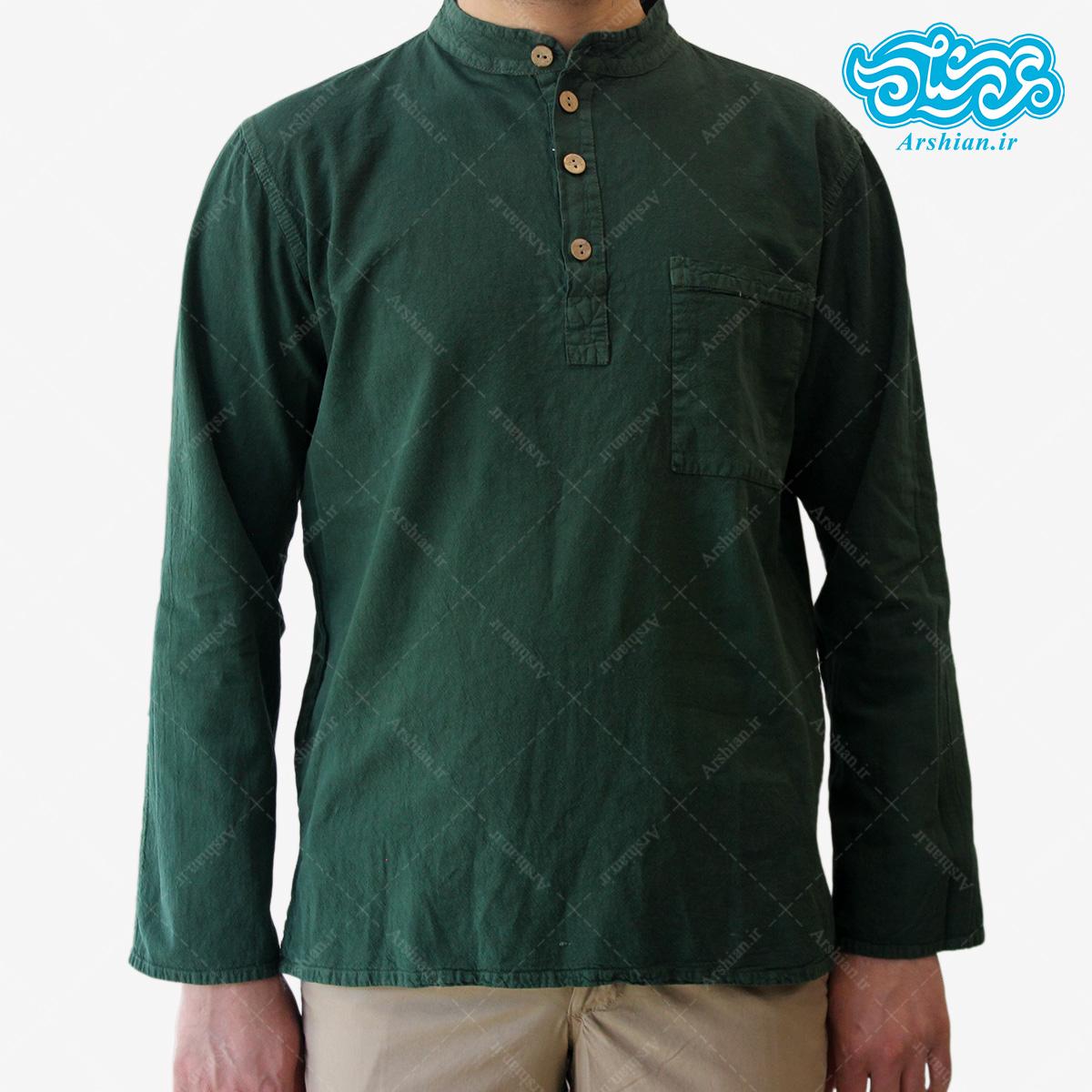 پیراهن الیاف طبیعی طرح چهار دکمه مدل sa003