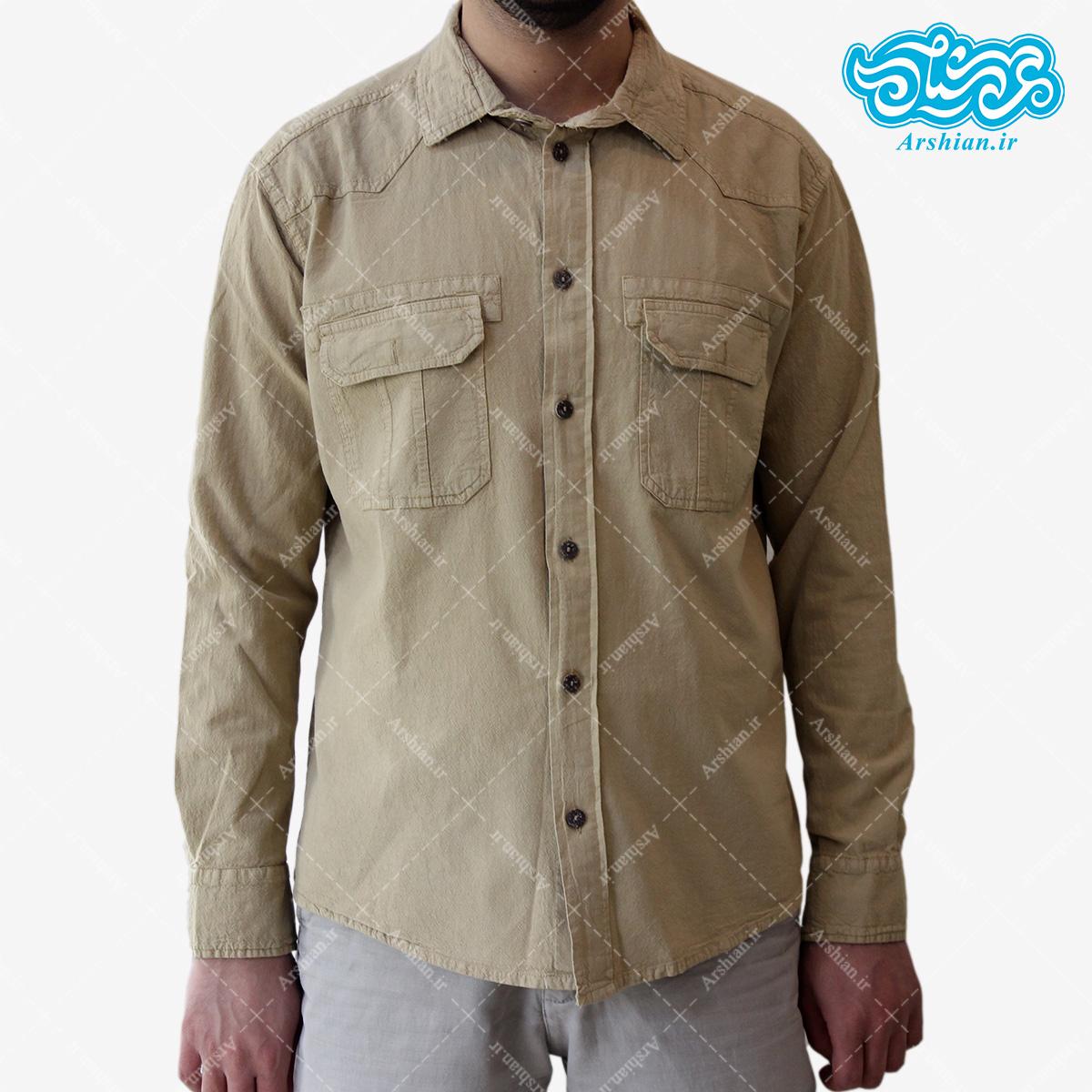 پیراهن الیاف طبیعی طرح دوجیب مدل sa001