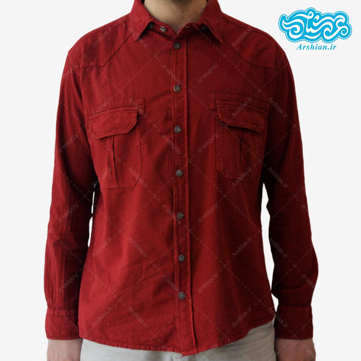 پیراهن الیاف طبیعی طرح دوجیب مدل gh001