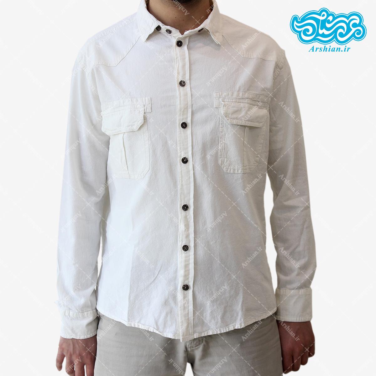 پیراهن الیاف طبیعی طرح دوجیب مدل se001