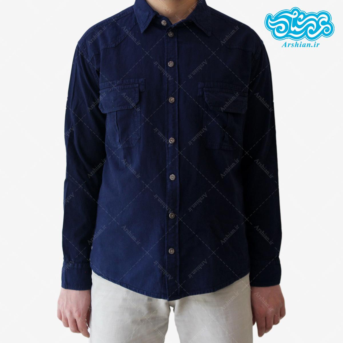 پیراهن الیاف طبیعی طرح دوجیب مدل a003