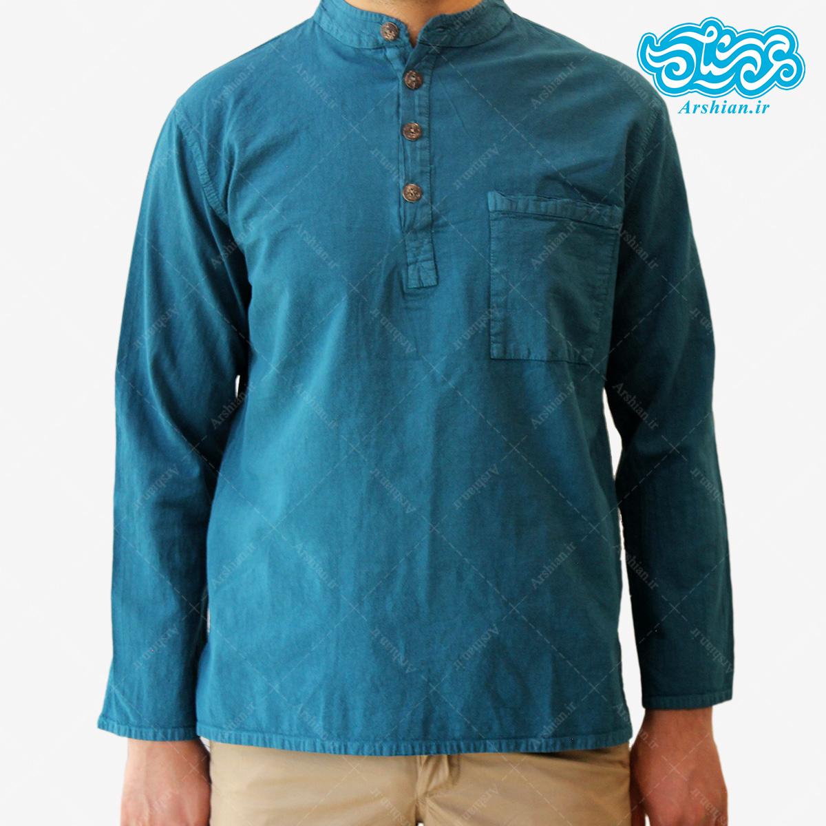 پیراهن الیاف طبیعی طرح چهار دکمه مدل a002