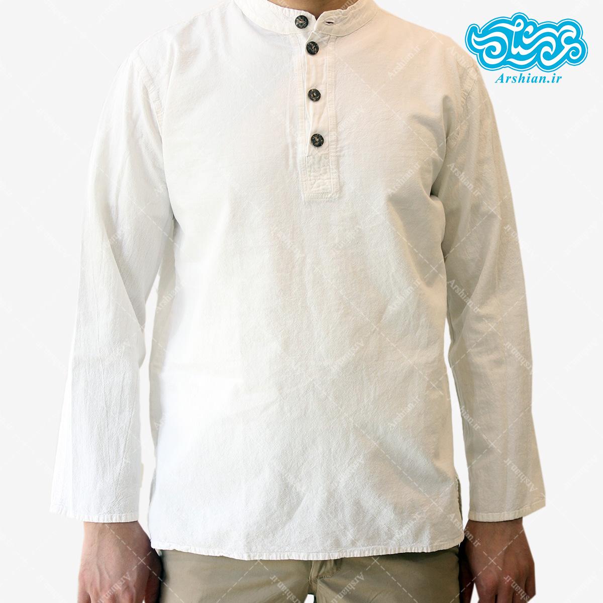 پیراهن الیاف طبیعی طرح چهار دکمه مدل se001