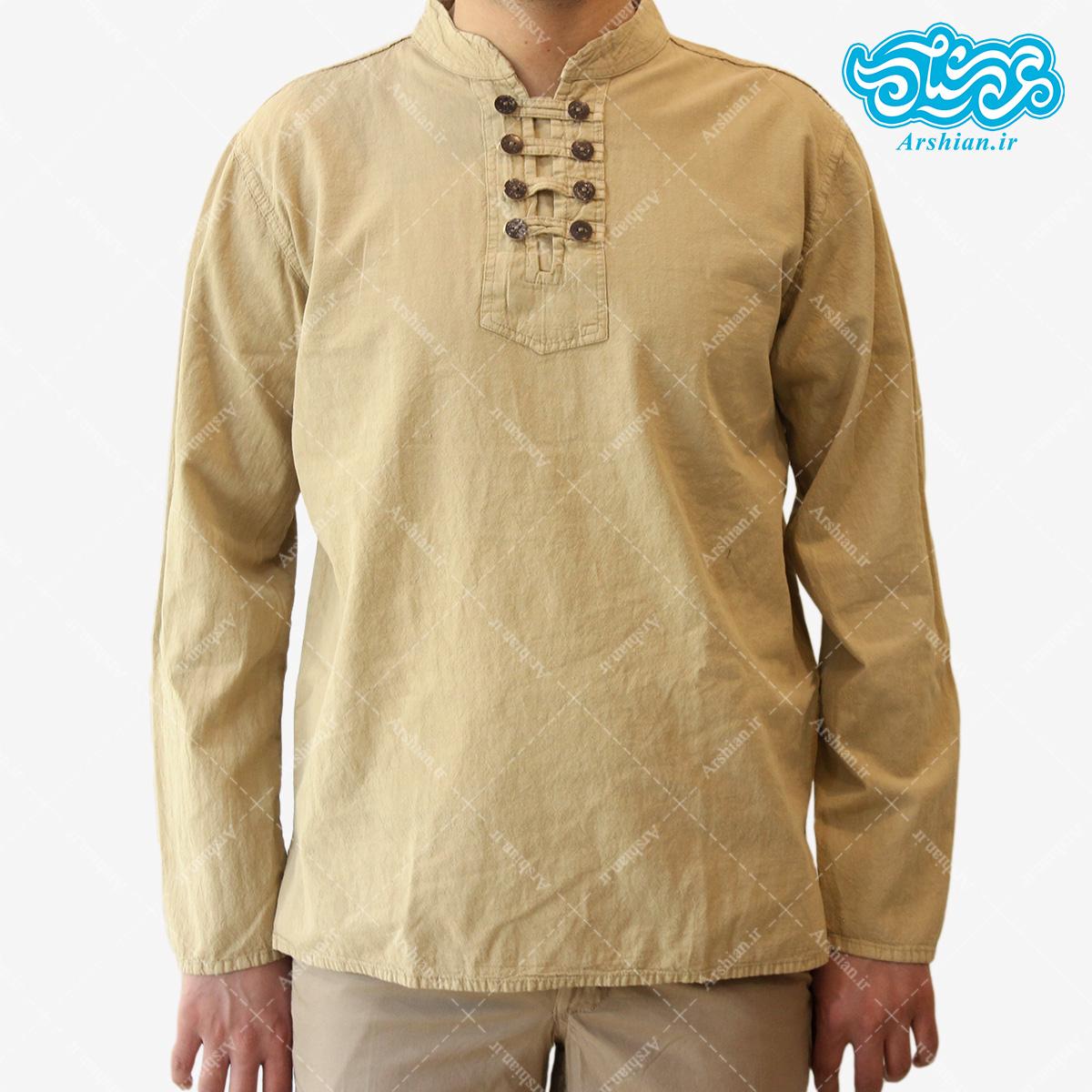 پیراهن الیاف طبیعی طرح هشت دکمه مدل k001
