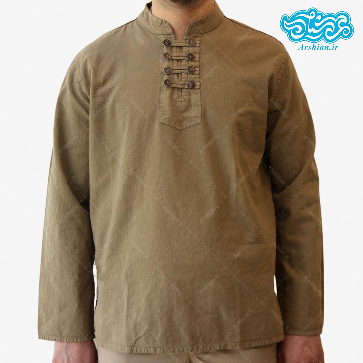 پیراهن الیاف طبیعی طرح هشت دکمه مدل sa001