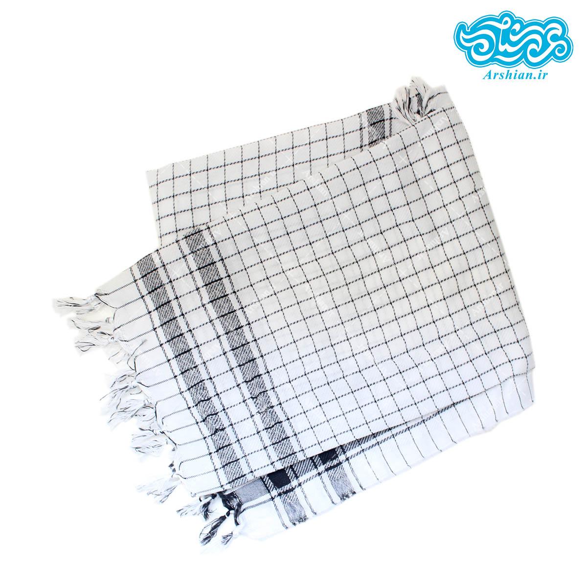 چفیه نخی سفیدرنگ طرح ایرانی(خطوط ساده مربعی)