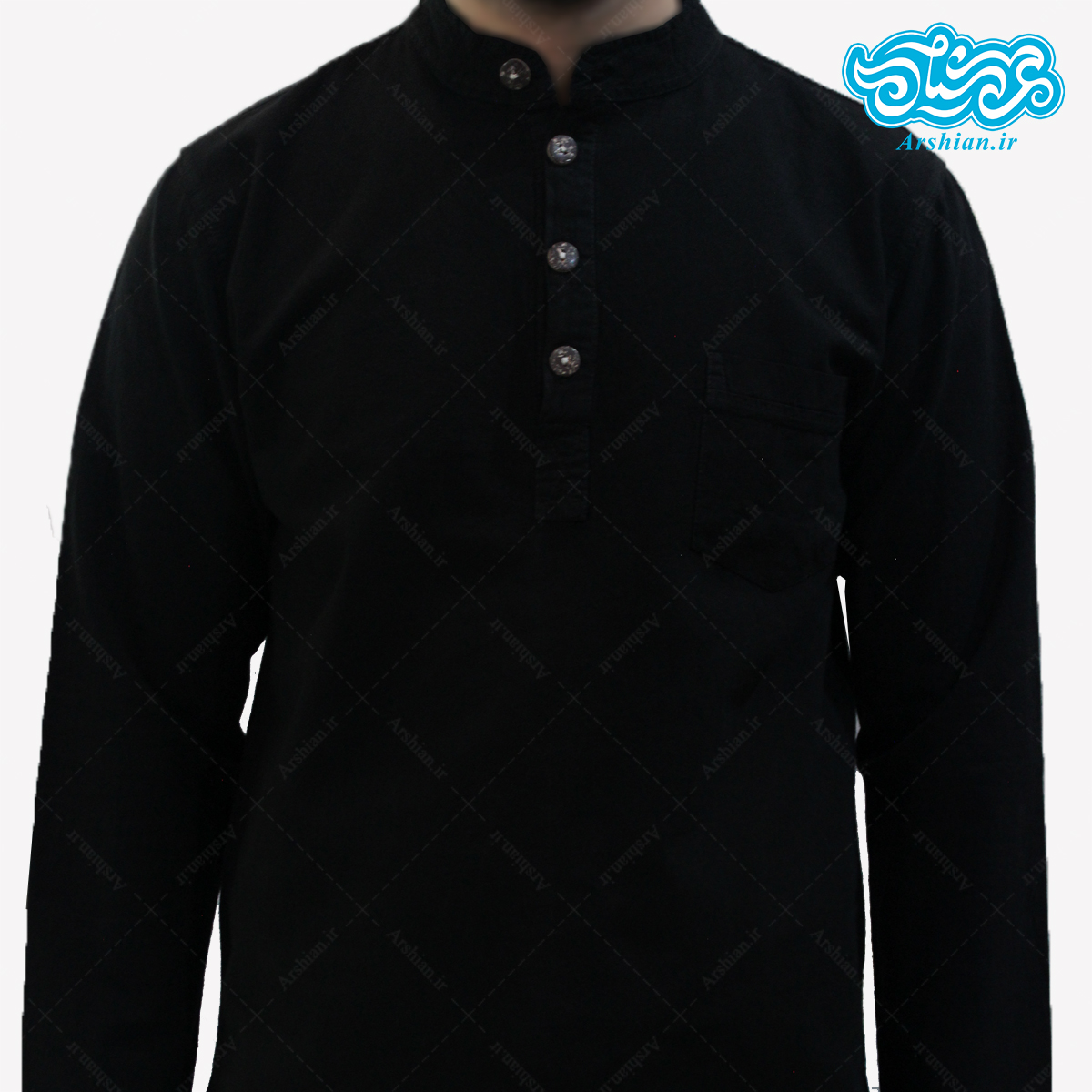 پیراهن الیاف طبیعی طرح چهار دکمه مشکی