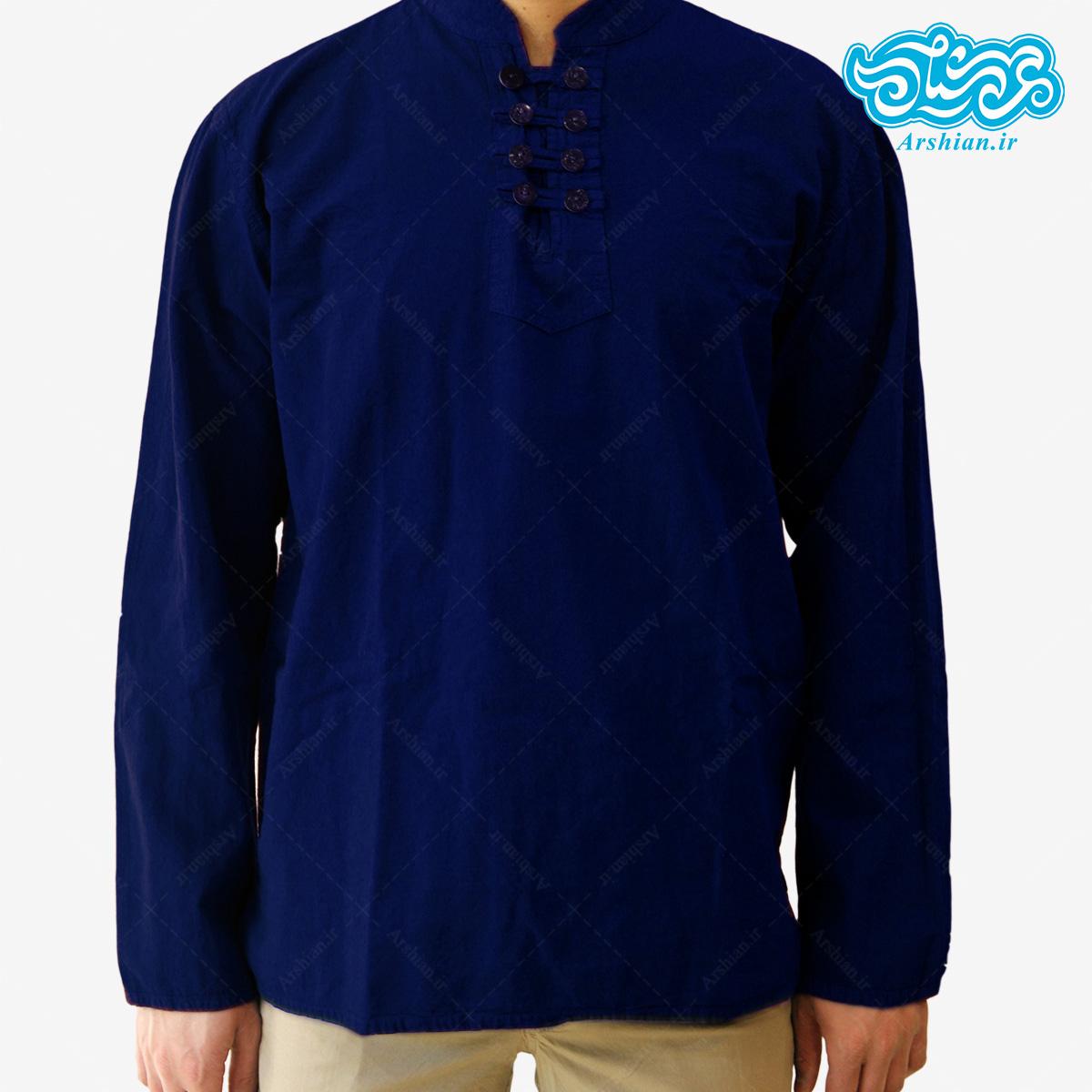پیراهن الیاف طبیعی طرح هشت دکمه مدل so001