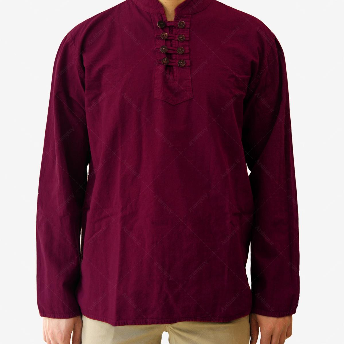 پیراهن الیاف طبیعی طرح هشت دکمه مدل ze001