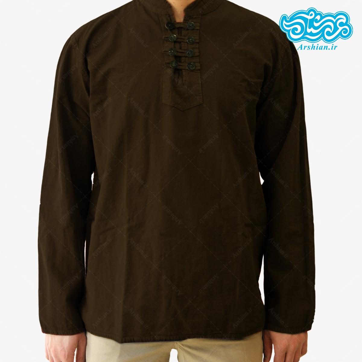 پیراهن الیاف طبیعی طرح هشت دکمه مدل gh001