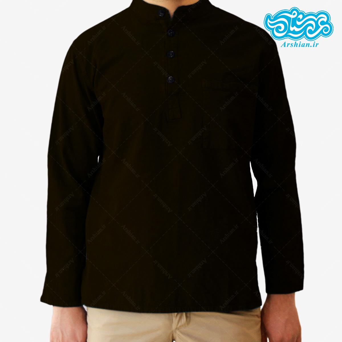 پیراهن الیاف طبیعی طرح چهار دکمه مدل gh001