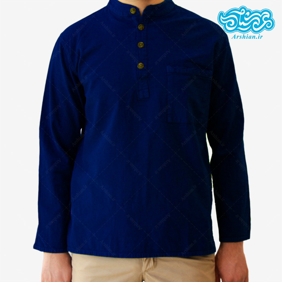 پیراهن الیاف طبیعی طرح چهار دکمه مدل so001
